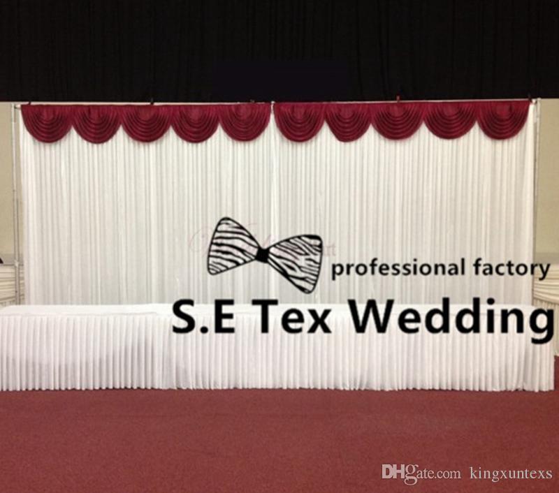Weiße Farbe Ice Seide Hochzeit Kulisse Vorhang mit Top Swags Und Rohr Stant \ Stent-freien Verschiffen