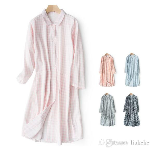 Küçük kafes çift katmanlı iplik Pijama standı yaka uzun kollu elbise kadın yaz pamuk hırka bahar ve yaz