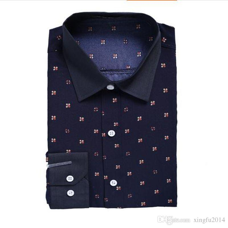 In 2017, the new men's fashion simple dress shirt printing long sleeve shirt of cultivate one's morality man suit shirts