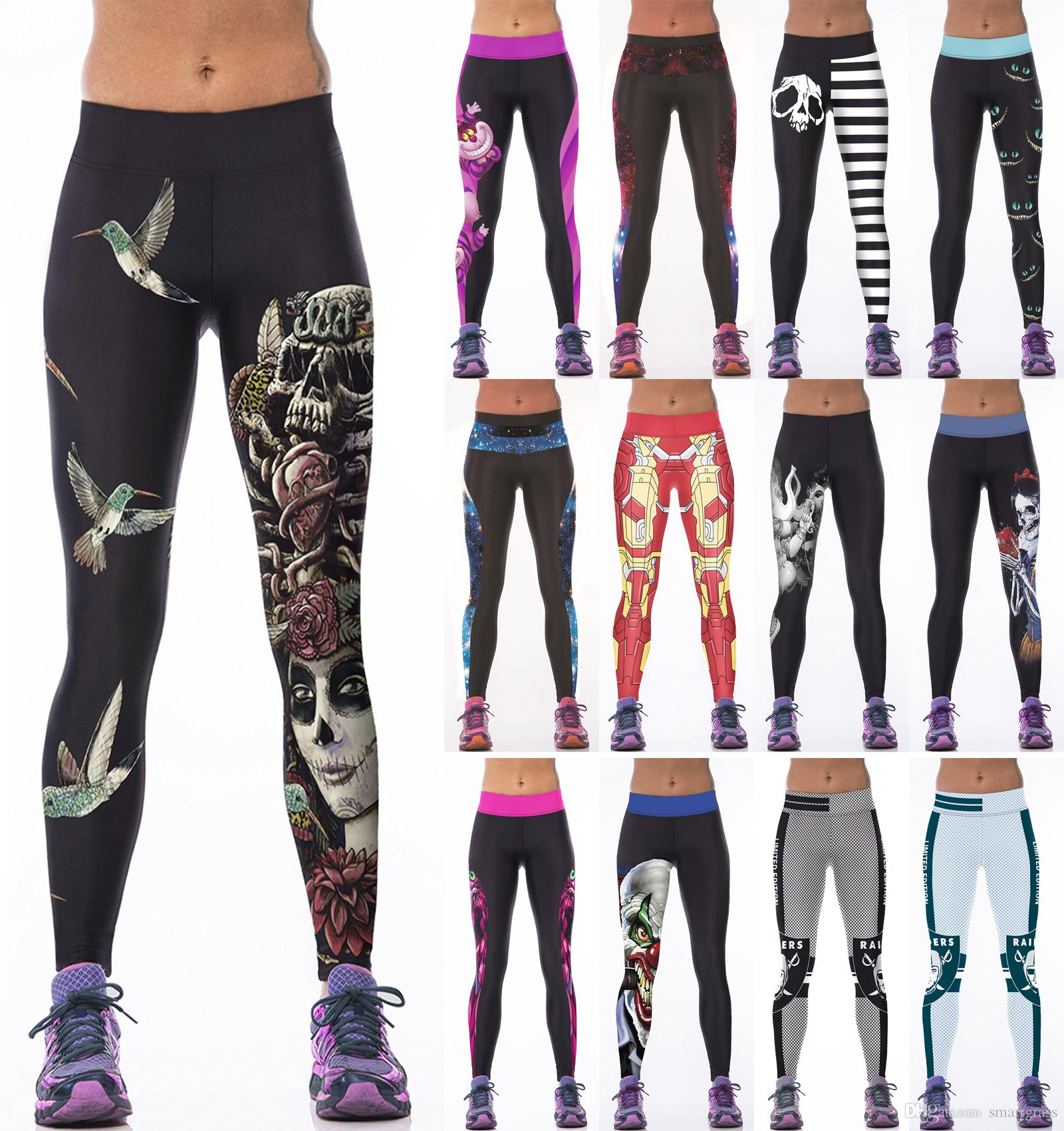 3aa5898cf7b 2017 Women Fashion Pants Women Printed Sports Legging Running Tights Capris  Jogging Pants Women Clothes Drop Shipping