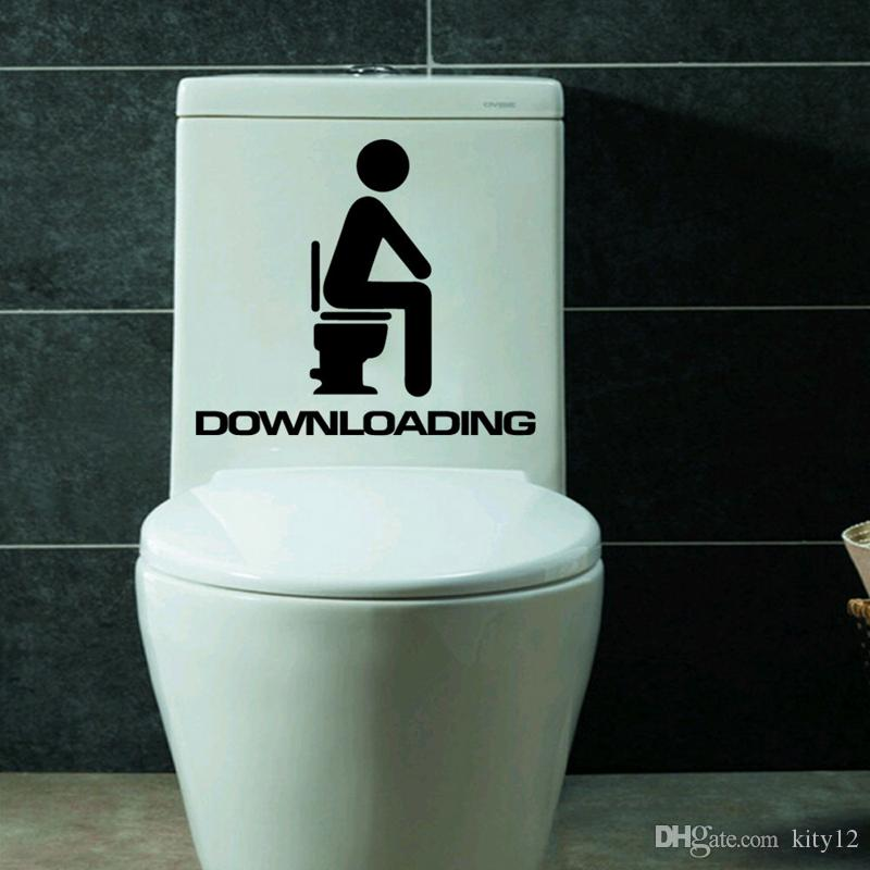 Downloading Quote Wall Decals Waterproof bathroom decor sticker Removable Pegatinas Wall Sticker Home decoration For Toilet hot sale