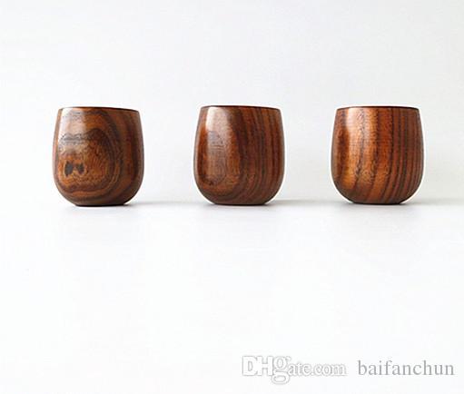 Hohe Qualität Retro Holz getreide Bauch tasse Holz Tee Tasse Japanischen Stil Holzbecher Wein Drinkware Gesunde Küche Werkzeuge Geschenk Freies Verschiffen