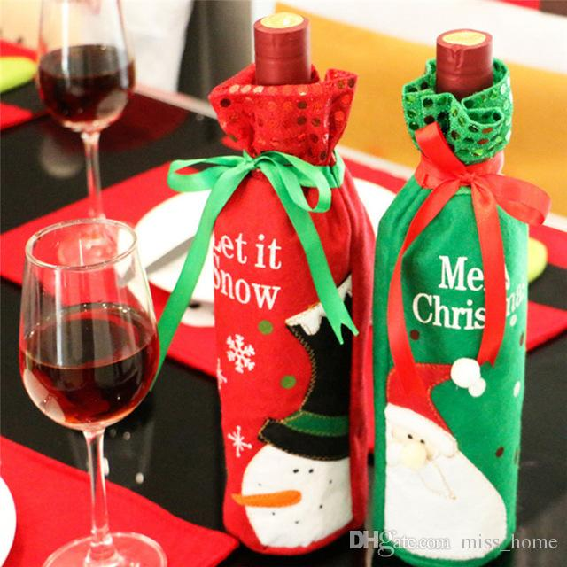 Christmas Wine Bottle Decor Set Santa Claus Snowman Deer Bottle Cover Clothes Kitchen Decoration for New Year Xmas Dinner Party Santa Claus
