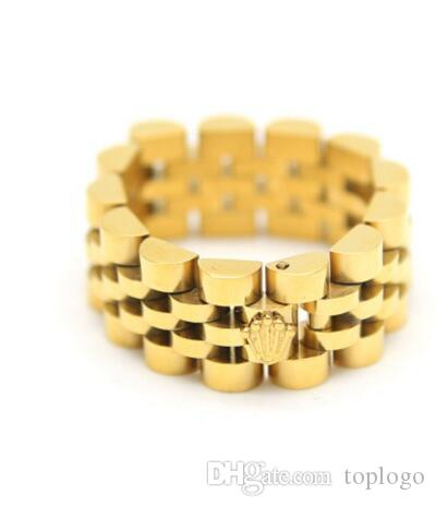 8d33750e75471 golden crown ring Stainless Steel18K Gold Plated Link Ring Hiphop Mens  Watchband Style President Crown Band Ring with big size