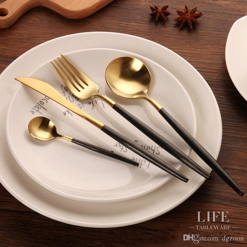 Golden Cutlery Wedding Dinnerware Set Dinner Forks Knives Spoons 18/10 Stainless Steel Black Gold Silverware Set Black Cutlery Gold Cutlery Set Leon Cutlery ... & Golden Cutlery Wedding Dinnerware Set Dinner Forks Knives Spoons 18 ...