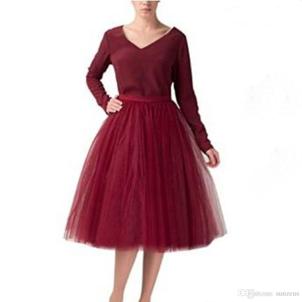 Knee Length Burgundy Tulle Tutu Skirts for Adults A-line Cheap Party Prom Petticoat Underskirts Women Clothing Cheap