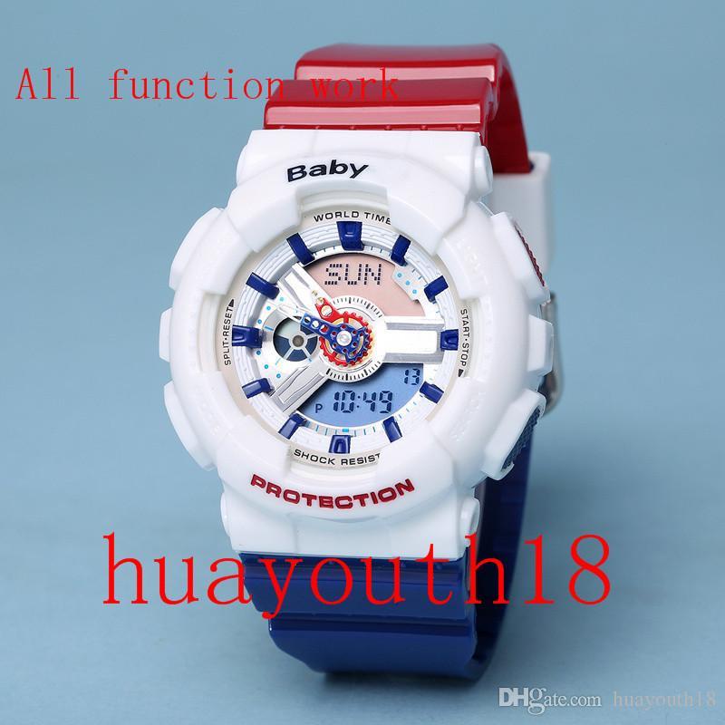Frauenuhr ga100 Sports führte Armbanduhren der Uhren-LED Digital 110 wasserdichte S-Schock-Uhr 50m alle Funktion Arbeit mit Frauenbabykasten