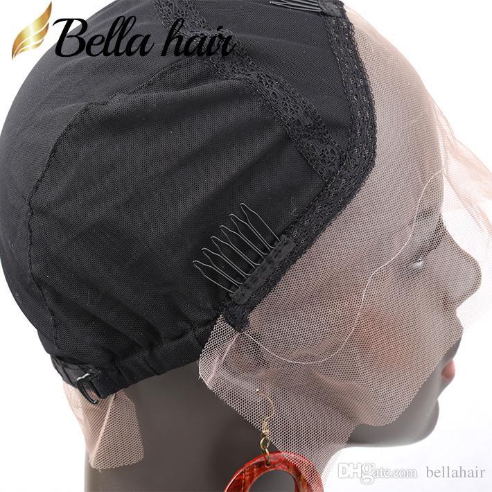 Wig Caps para Fazer Cabelo Humano Lace Wigs Com alça ajustável e Combs respirável Pele Suave Caps Cor Preto Médio Cabelo Bella