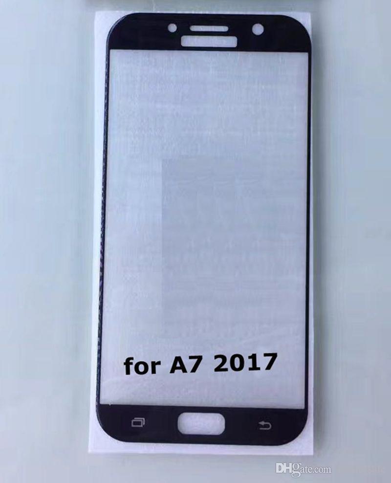 Ultra Thin 3D Gebogene Rand Full Cover Gehärtetem Glas Film für Samsung Galaxy A7 A3 A5 2017 S8 + Reinigungstücher Komplette Displayschutzfolie 50 stücke