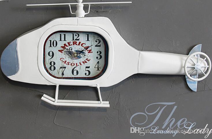Creative American Retro Helicopter Wall Clock Living Room Restaurant Wall Decorative Iron Decorative Watch Wall Clocks