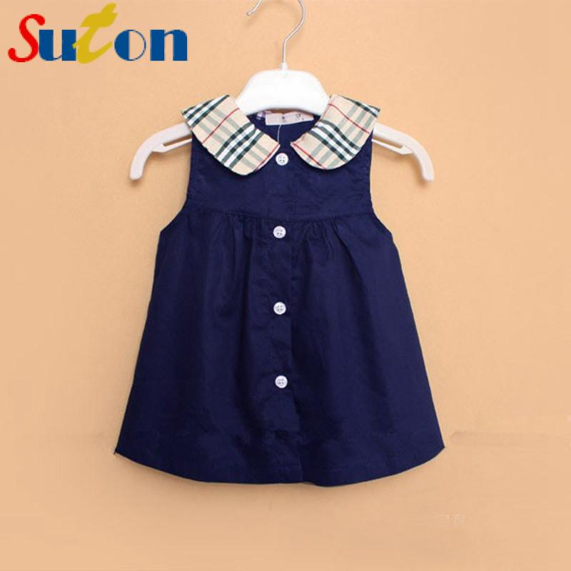 3768cd704c7 2019 Wholesale 2017 Summer New Baby Girl Dress Sleeveless Plaid Doll Collar  Mini A Line Princess Dress Cute Button Cotton Kids Clothing 0 2 Y From  Sophine14 ...
