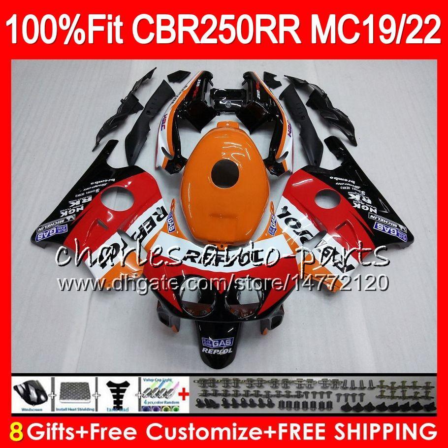 Injection For HONDA CBR 250RR CBR250RR 88 89 90 91 92 93 96HM1 MC19 MC22 250 CBR250 RR 1988 1989 1990 1991 1992 1993 Fairing Repsol orange