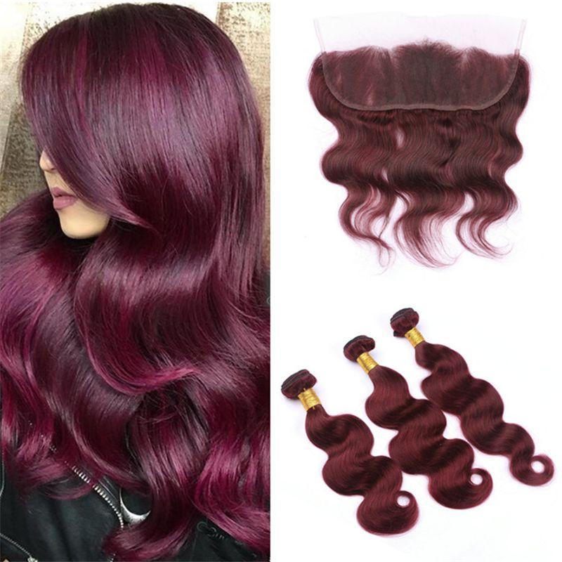 Color puro 99j Paquetes de pelo color burdeos con encaje Cierre frontal Cuerpo indio Ola Pelo virginal Vino rojo Teje con encaje frontal