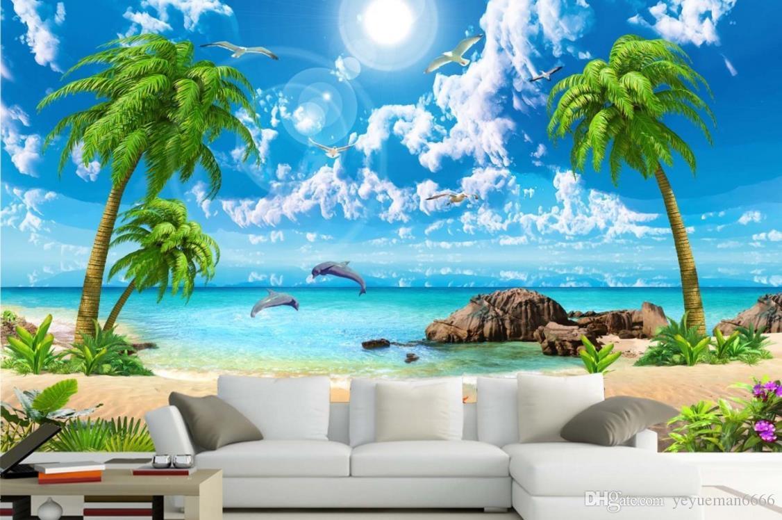 Пользовательские papel de parede 3d природные фрески море кокосовое дерево любовь Дельфин пастырское стиль 3D нетканые гостиная диван фон