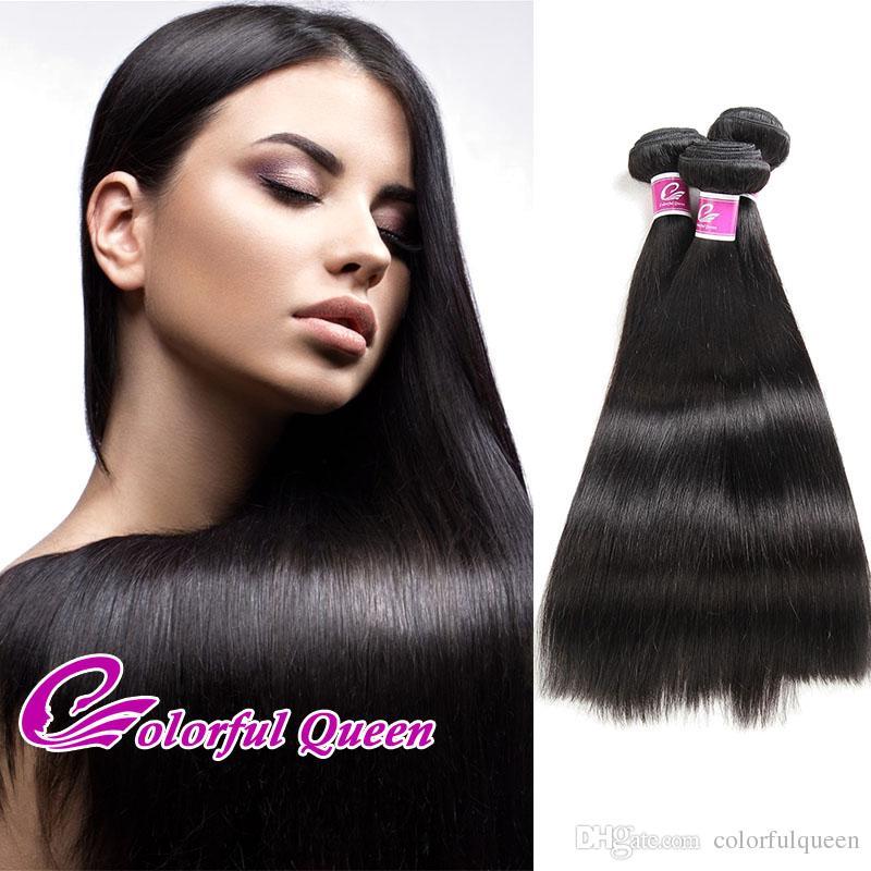 Les cheveux noirs vierges brésiliens de la reine colorée 3 faisceaux 300g de trame noire brésilienne d'extension de cheveux humains de trame naturelle tissent des cheveux noirs en ventes