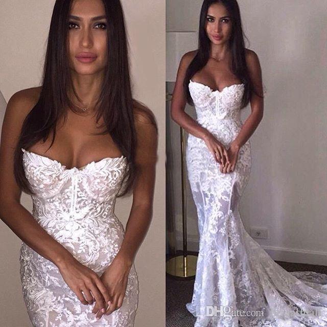 Vintage 2019 White Lace Mermaid Abiti Da Sposa Musulmano Senza Maniche Appliques Della Boemia Tromba Dubai Arabo Abiti Da Sposa Abiti Da Sposa