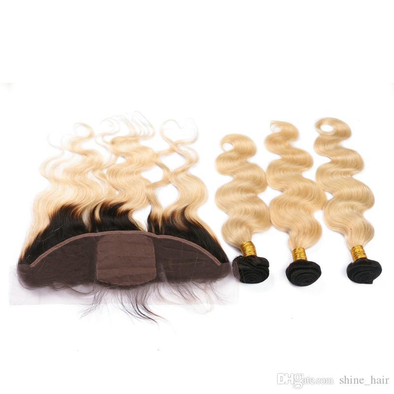 1b / 613 Ombre Шелковая основа 13x4 кружева фронтальное закрытие с пучками волна тела блондинка Ombre человеческих волос с шелковой верхней кружева фронтальной