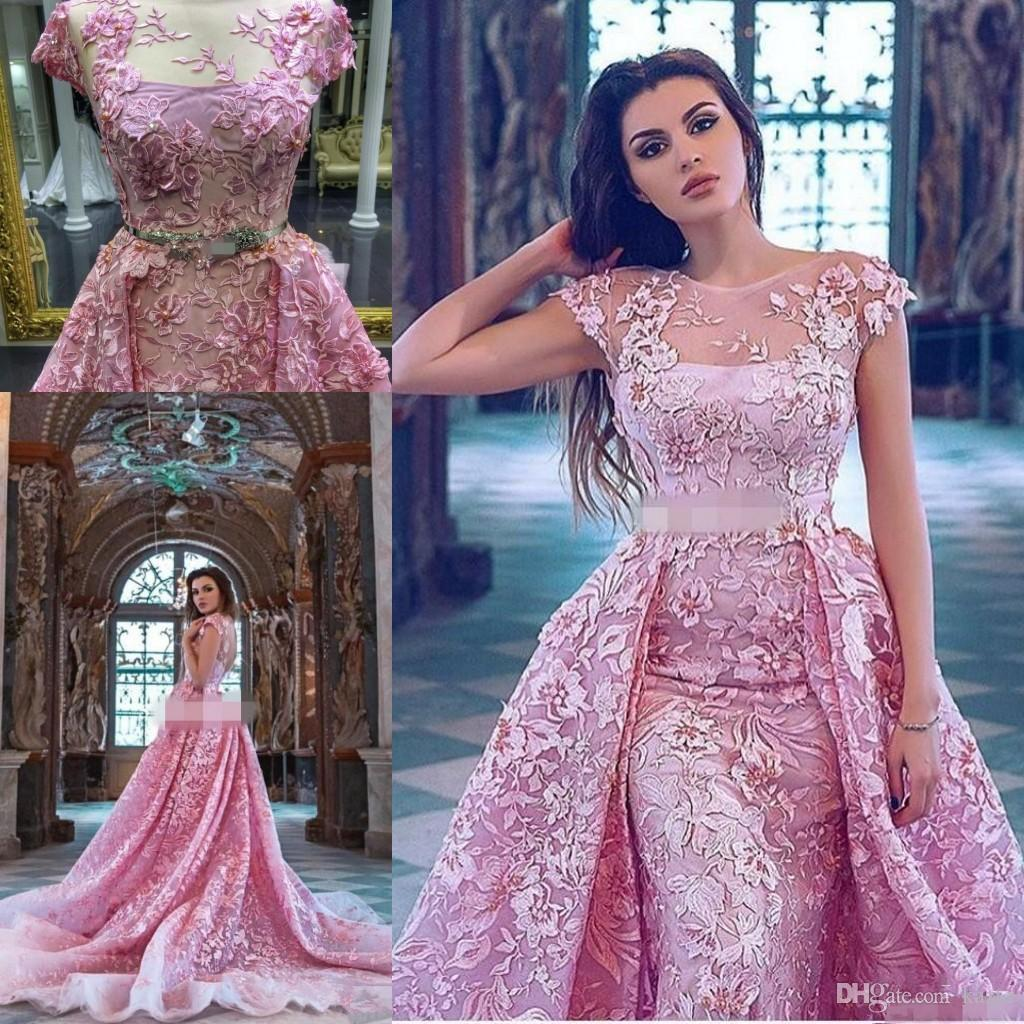 5463b834533 Pink 3D Floral Applique Over Skirt Prom Dresses With Crystal Belt 2018  Sheer Neck Dubai Arabic Plus Size Prom Dress With Detachable Train 80s Prom  Dresses ...