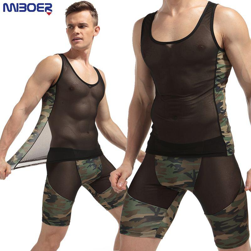 42737d4322987b Breathable Summer Undershirt Fashion Sexy Transparent Mesh O-Neck ...