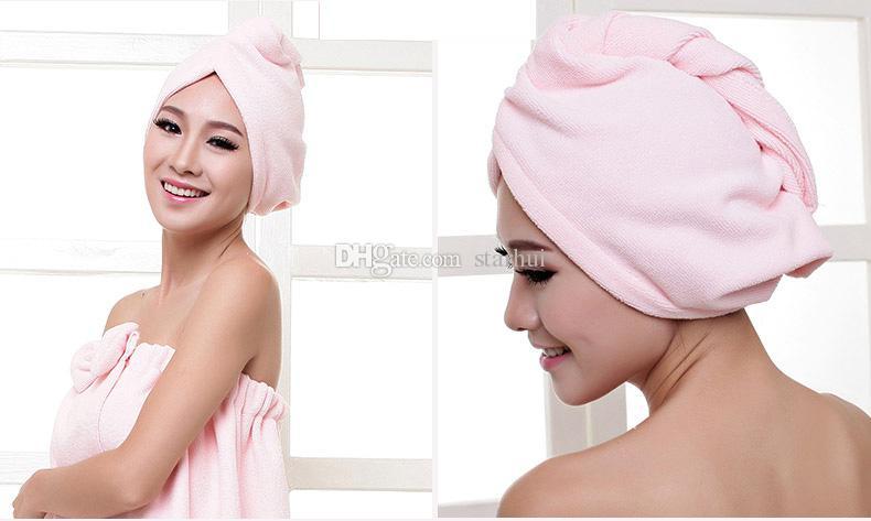 Bonnets de douche serviette femmes Microfibre Magic Bonnets de douche Séchage à sec de cheveux Turban Wrap serviette Bonnet chapeau à séchage rapide Bain à séchage rapide 60 * 25 cm WX-T17