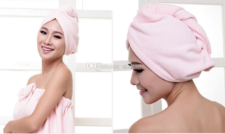 Tapas de ducha Toallas Mujeres Microfibra Mágicas Tapas de ducha Secador de pelo Turban Wrap Toalla Sombrero Sombrero Secador de secado rápido Baño 60 * 25 cm WX-T17