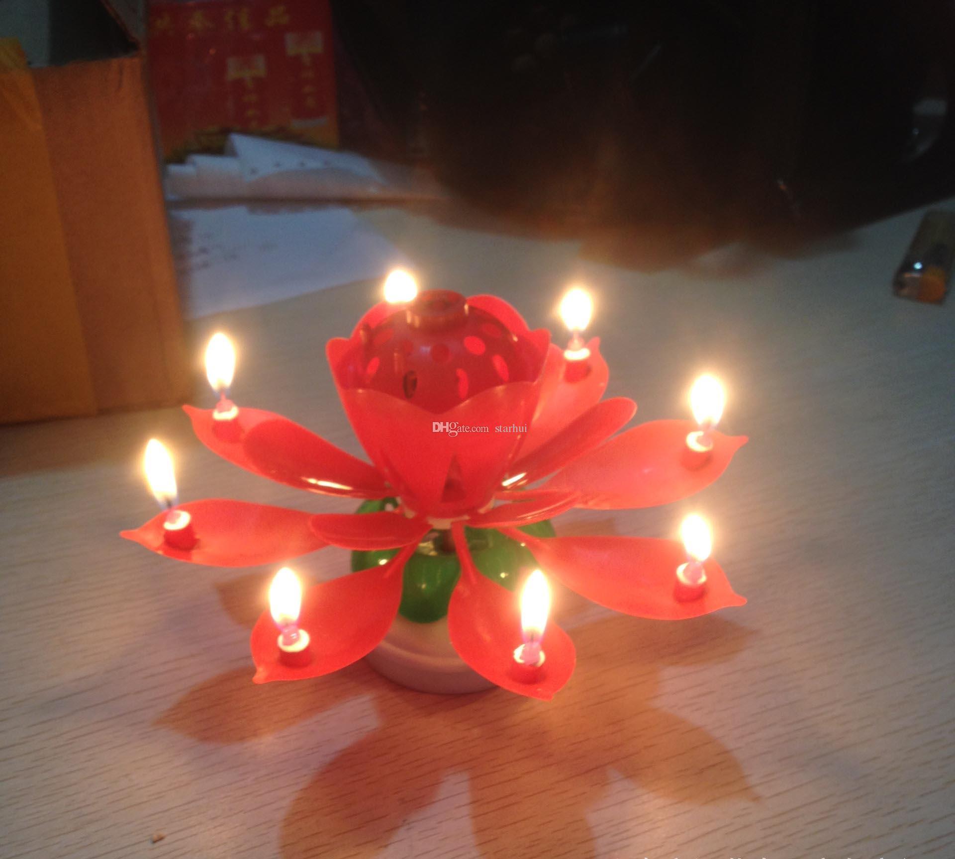 Renkli Yaprakları Müzik Mum Çocuk Doğum Günü Partisi Lotus Köpüklü Çiçek Mumlar Fışkırtma Çiçeği Alev Kek Aksesuar Hediye WX9-104