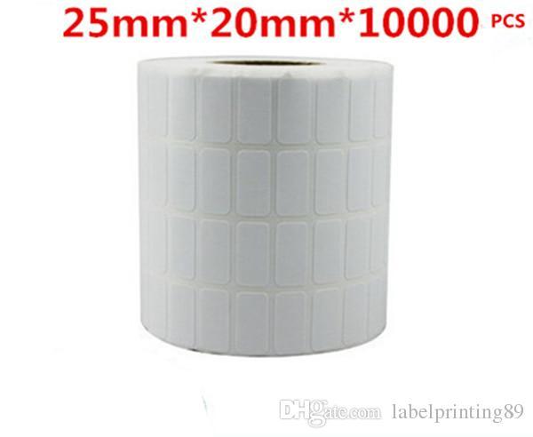 25 * 20mm / rouleau d'étiquettes vierges de papier de bandes à barres d'autocollants autocollants auto-adhésives pour imprimante