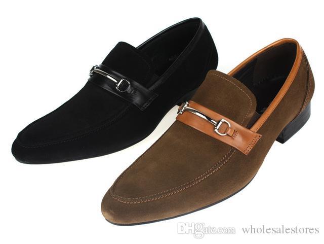 1acd5106d61 Compre Moda Negro   Marrón Ante Planos Hombres Visten Zapatos De Cuero  Genuino Zapatos Casuales Al Aire Libre Para Hombre Zapatos De Verano Con A   90.46 Del ...