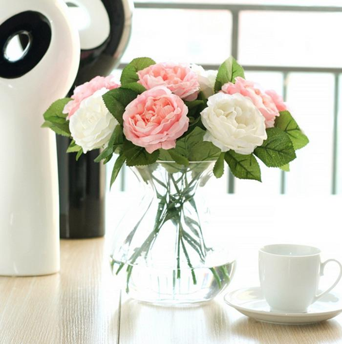 Comercio al por mayor 50 unids Encantador Tela de Seda Artificial Rosas Peonías Flores Ramo Blanco Rosa Naranja Verde Rojo para la boda home hotel decoración
