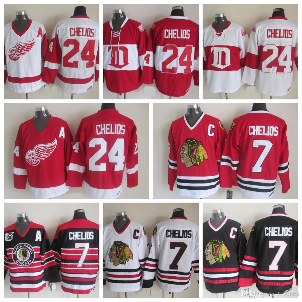 ... 2017 Throwback 7 Chris Chelios 1992 Chicago Blackhawks Jerseys 24 Chris  Chelios Detroit Red Wings Ccm ... 217201eb0