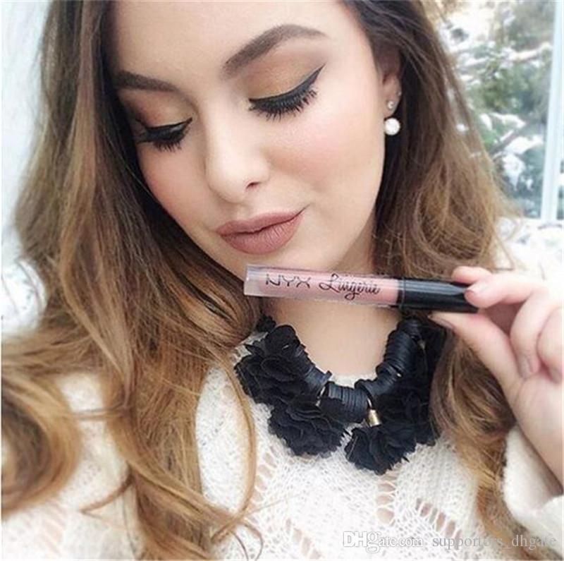 Novos Produtos NYX lingerie batom líquido matte lip gloss nyx maquiagem cosméticos à prova d 'água de longa duração lipgloss 12 cores Charme Da Moda