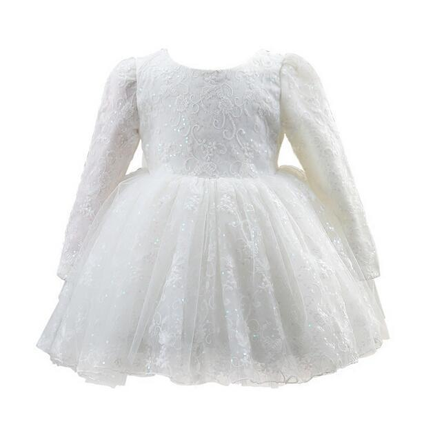 2018 Wholesale High Quality White Tulle Baby Girls Long Sleeve 1