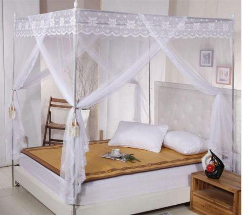 White Lace 4 Corners Post Bed Canopy Mosquito Net For Twin Queen Cal King Size No Bracket Mosquito Control Chemicals Mosquito Repellent Clothes From ... & White Lace 4 Corners Post Bed Canopy Mosquito Net For Twin Queen ...