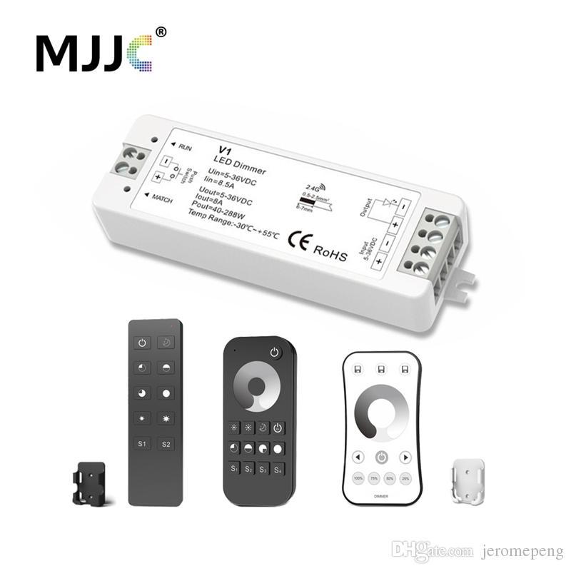 MJJC LED Dimmer 12V 5V 24V 36V 8A PWM Wireless RF LED Dimmer Switch ON OFF  with 2 4G Remote for Single Color LED Strip Light