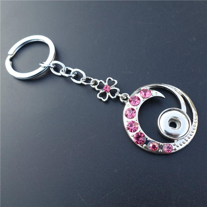 Rose blanche mélange intelligent strass cercle porte-clés noosa morceaux de métal gingembre 12mm boutons-pression boutons clés Bijoux de bijoux en gros
