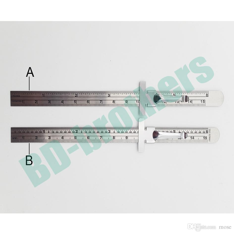 15 cm Edelstahl Gerade Herrscher Metall Graduierte Skala Tiefe Gauges CM Zoll Doppelseitige Reparatur Regel Messwerkzeug 500 teile / los