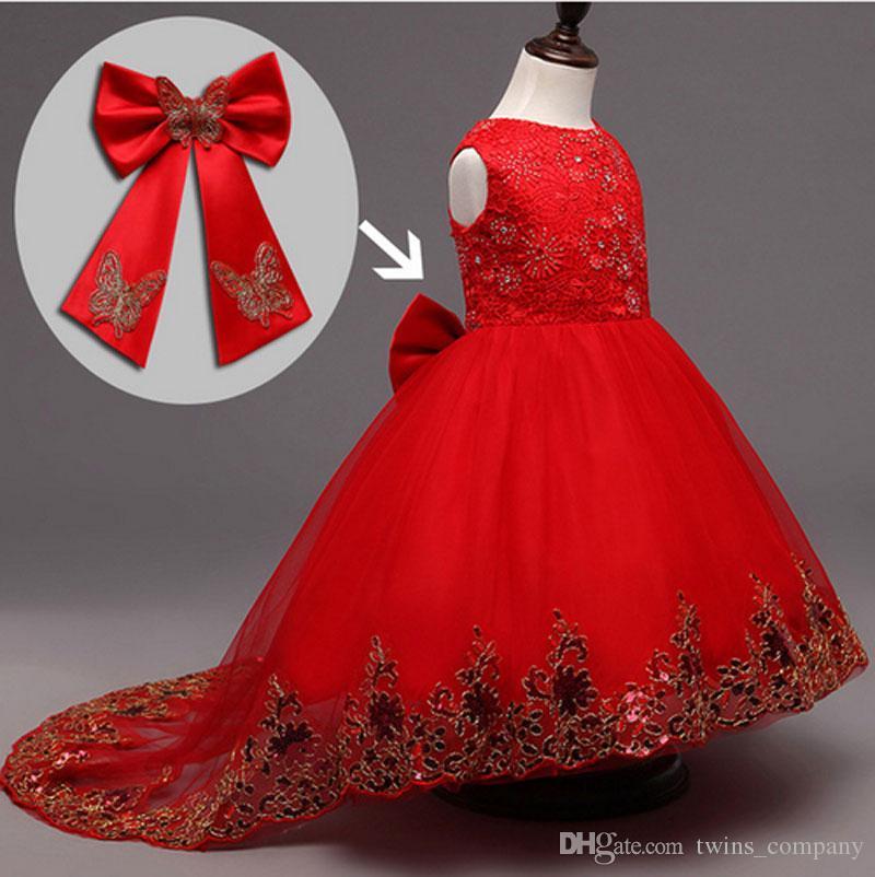 13ab0013eb05e Satın Al Çiçek Kız Nedime Elbise Çocuk Kırmızı Mesh Firar Kelebek Kız Düğün  Elbise Çocuklar Balo Işlemeli Yay Parti Elbise, $23.12   DHgate.Com'da