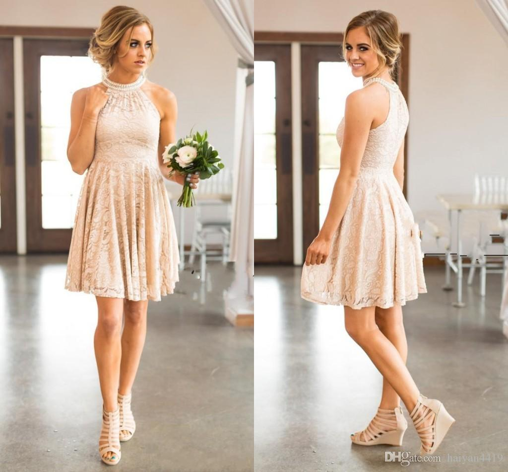 2017 new country short bridesmaid dresses for weddings jewel neck 2017 new country short bridesmaid dresses for weddings jewel neck full lace blush pink peals plus size empire waist maid of honor gowns silver bridesmaids ombrellifo Choice Image