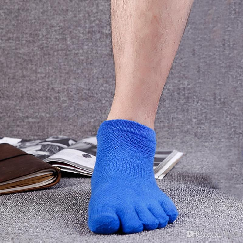 Men Toe Socks Summer Mesh Breathable Cotton Male Ankle Socks Outdoor Sports Five Finger Toe Basketball Short Socks Foot Heel Protection DHL