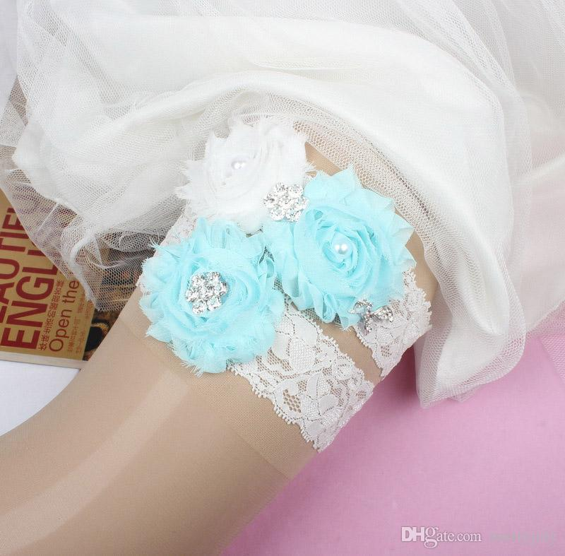 ef80b9498ac Sexy Lace Flower Wedding Garter Set With Something Blue Pearl Bridal Leg Garter  Belt Lace Bride Accessories Pink Garter Sexy Garter From Merryjuly