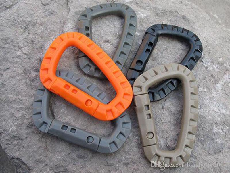 D Shape Mountaineering Buckle Snap Clip Plastic Steel Climbing Carabiner Hanging Keychain Hook Fit Outdoor Army EDC Free DHL/Fedex
