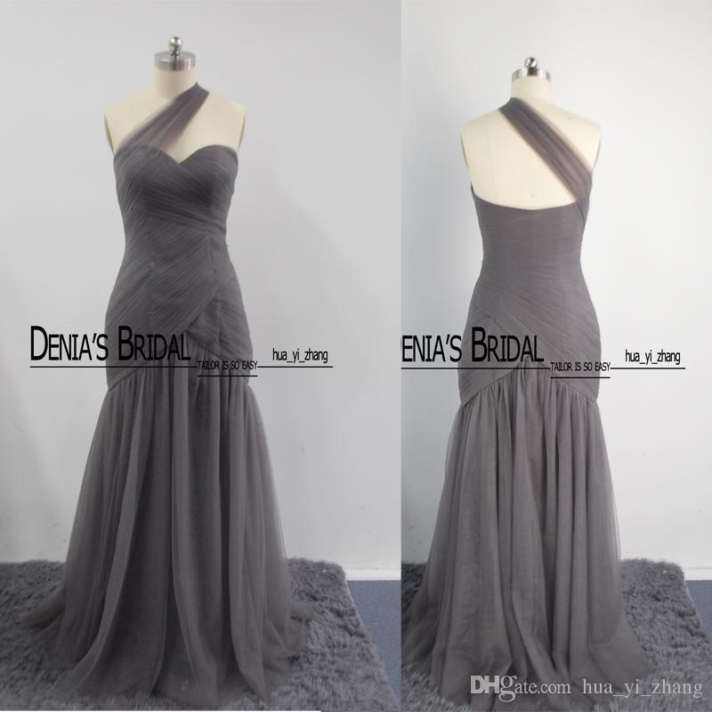 2016 Nuevo estilo Imágenes reales Vestidos de dama de honor Un hombro Tul con Novio Hasta el suelo Niñas Vestidos formales 450088 Dhyz 01