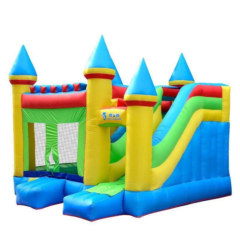 2019 Children Inflatable Castle Shark Slide Jump Bed Pool
