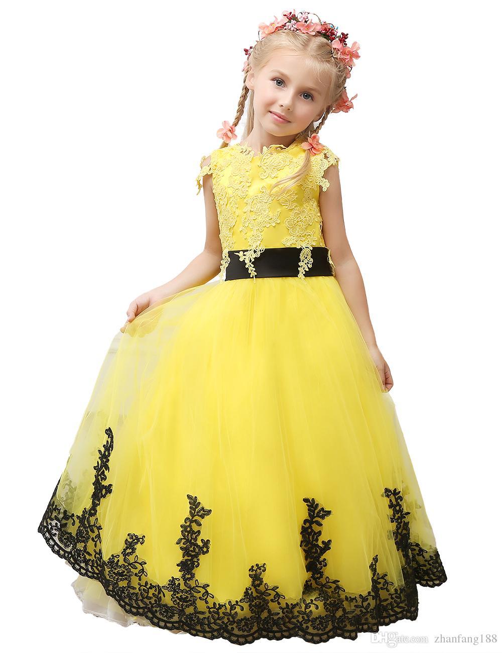 2019 Pageant Dress Little Princess Glitz vestido de baile de renda vestido de baile amarelo vestido da menina de flor bonito com faixa preta