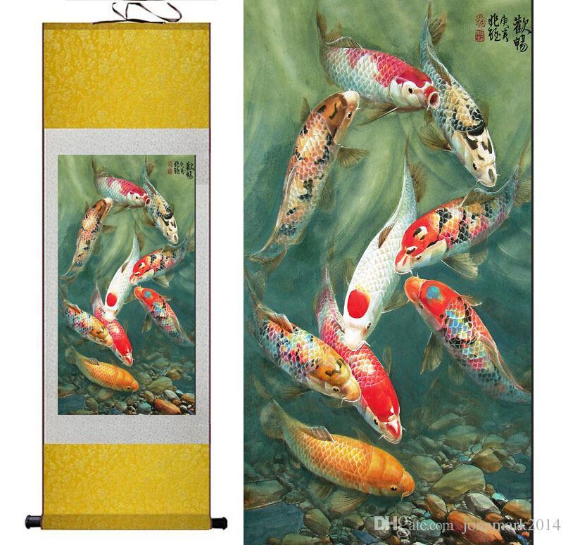 Роспись рыбой Шелковый свиток картины традиционное искусство Китайская роспись Фен шуй Wall Art Scroll Hang Picture