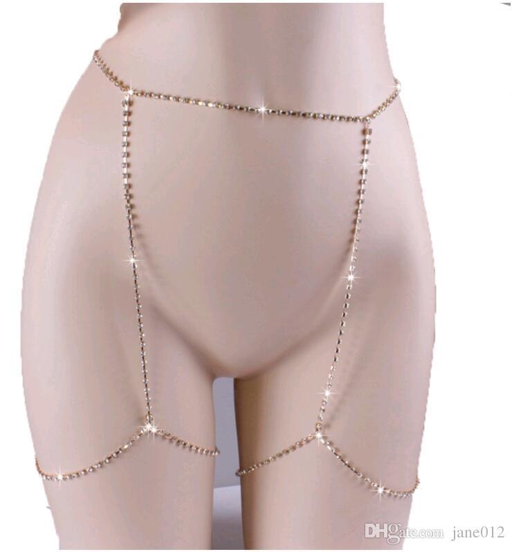 Pietre strass brillanti brillanti della CZ della catena del corpo Sexy Legami affascinanti di legatura dei gioielli della legatura d'argento delle donne