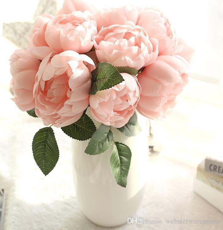 Light pink damascus rose bunch silk artificial flowers real look vibrantly coloredlooks realistic and beautiful the flowers are made of high quality and easy to clean perfect for decorating wedding party mightylinksfo