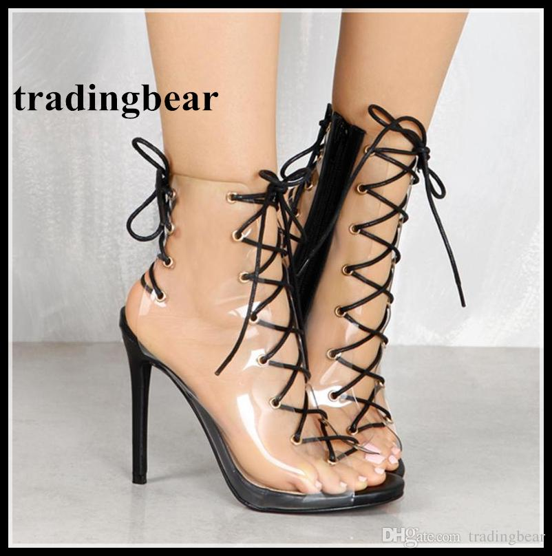 42e4c99c6 2018 Newest PVC Transparent Lace Up High Heels Gladiator Sandals Women Shoes  Size 35 To 40 Reef Sandals Gold Shoes From Tradingbear