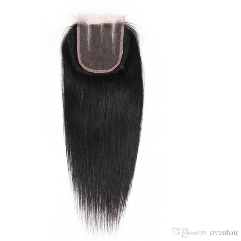 El pelo recto de la Virgen brasileña india mongol malasia peruana teje 3 4 paquetes con el paquete del pelo humano del cierre 9A con el encierro del cordón