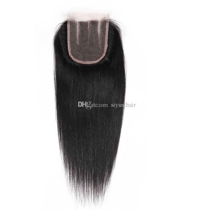 Paquetes rectos brasileños malasios peruanos del pelo de la Virgen con los paquetes del pelo humano de los cierres 9A con la armadura del pelo humano del closing